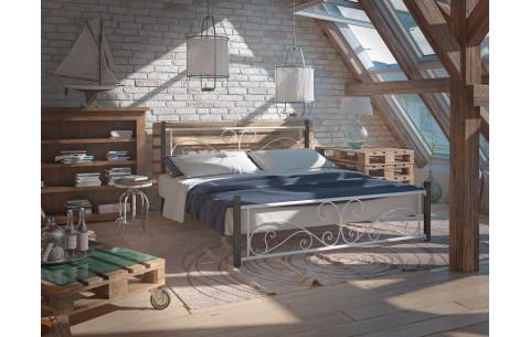 Металлическая кровать Нарцисс на деревянных ногах Tenero