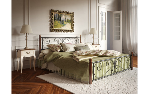 Металлическая кровать Крокус на деревянных ногах Tenero