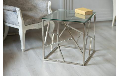 Журнальный стол CF-2 прозрачный + серебро Vetro