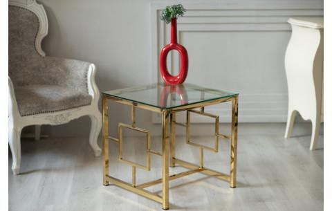 Кофейный стол CL-2 прозрачный + золото Vetro