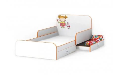 Детская Односпальная Кровать из ДСП, 90х190 см, Мандаринка с бортиками без ящиков от LUXE STUDIO