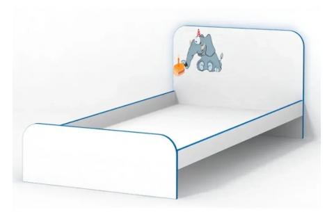 Детская Односпальная Кровать из ДСП, 90х190 см, Elephant/Слоник без бортика и ящиков от LUXE STUDIO