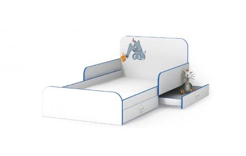 Детская Односпальная Кровать из ДСП, 90х190 см, Elephant/Слоник с бортиками без ящиков от LUXE STUDIO