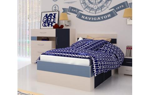 Детская Односпальная Кровать из ДСП, 90х200 см, NEXT / НЕКСТ для мальчика от LUXE STUDIO
