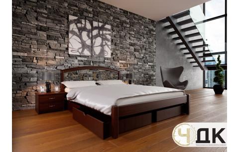 Деревянная кровать Британия с ковкою + 2 ящики ЧДК