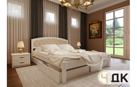 Деревянная кровать Британия с мягким изголовьем + 2 ящики ЧДК