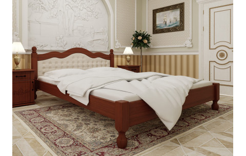 Деревянная кровать Магнолия с мягким изголовьем ЧДК