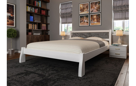 Деревянная кровать Ретро с ковкою ЧДК