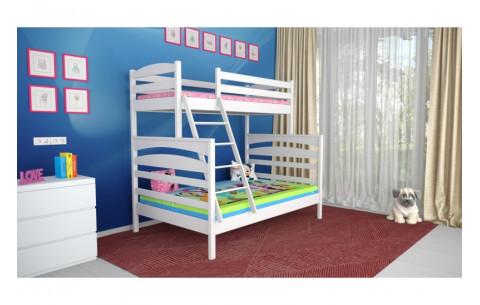 Двухъярусная трехместная деревянная кровать трансформер  Кай