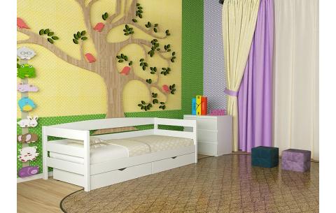 Детская деревянная односпальная кровать Лёва
