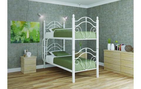 Двухъярусная металлическая кровать трансформер  Диана на деревянных ногах Металл-Дизайн