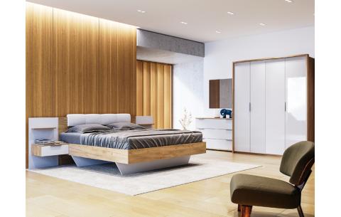 Спальня Асти Дуб Крафт + Глянец Белый (Кровать с тумбами, Зеркало, Комод 3Ш, Шкаф 4Д)