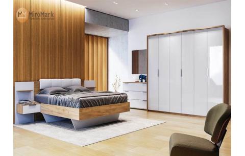 Спальня Асти Дуб Крафт + Глянец Белый (Кровать с тумбами, Зеркало, Комод 3Ш, Шкаф 6Д)