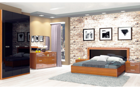 Спальня Белла Глянец черный + Вишня бюзум (кровать, тумбочки 2Ш - 2 шт, Зеркало, Комод 3Ш, Шкаф 4Д)