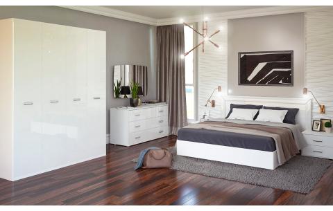 Спальня Белла Глянец белый (кровать, тумбочки 2Ш - 2 шт, Зеркало, Комод 3Ш, Шкаф 4Д)