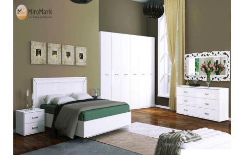 Спальня Белла Глянец белый (кровать, тумбочки 2Ш - 2 шт, Зеркало, Комод 6Ш, Шкаф 6Д)