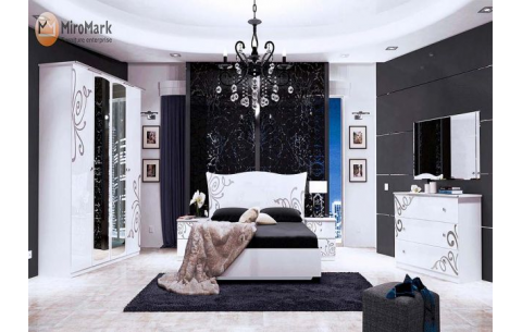 Спальня Богема Глянец белый (кровать, тумбочки 2Ш - 2 шт, Зеркало, Комод 3Ш, Шкаф 4Д)