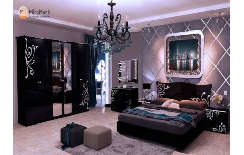 Спальня Богема Глянец черный (кровать, тумбочки 2Ш - 2 шт, Зеркало, Комод 3Ш, Шкаф 6Д)