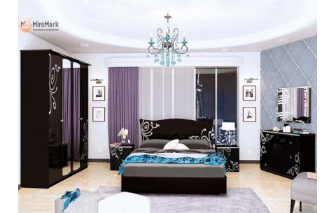 Спальня Богема Глянец черный (кровать, тумбочки 2Ш - 2 шт, Зеркало, Комод 3Ш, Шкаф 4Д)