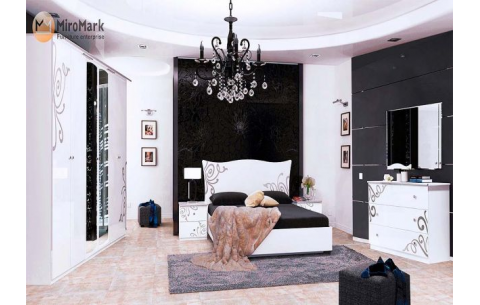 Спальня Богема Глянец белый (кровать, тумбочки 2Ш - 2 шт, Зеркало, Комод 3Ш, Шкаф 6Д)