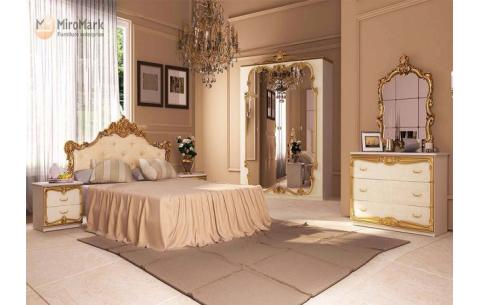 Спальня Виктория Радика беж (кровать, тумбочки 2Ш - 2 шт, Шкаф 4Д, Зеркало, Комод 3Ш)