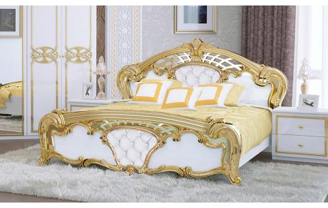 Кровать двуспальная Ева с мягким изголовьем (без каркаса и матраса) MiroMark