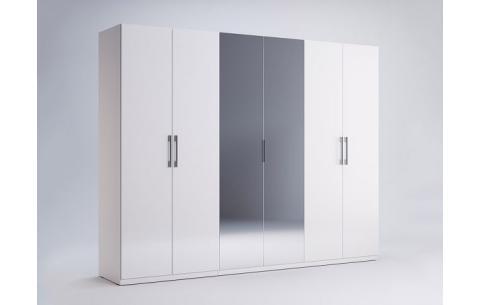 Шкаф Миромарк «Фемели 6д» (Зеркало) Глянец белый 210,4х268,2х54,6