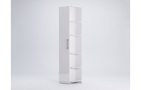 Шкаф Миромарк «Фемели Угловое окончание» Глянец белый 210,4х53х36,6 Левая