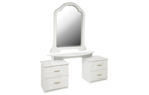 Столик туалетный с зеркалом Миромарк «Футура 4ш» Глянец белый