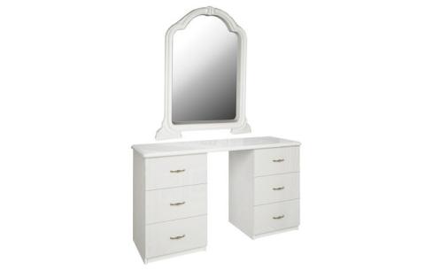 Стол туалетный с зеркалом Миромарк «Футура 6ш» Глянец белый