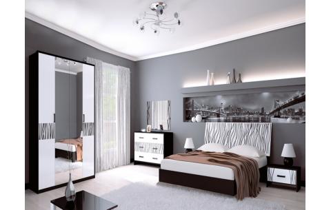 Спальня Терра Глянец белый + Мат черный (кровать, тумбочки 1Ш - 2 шт, Зеркало, Комод 3Ш, Шкаф 4Д)