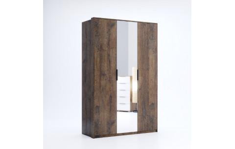 Шкаф распашной в спальню с зеркалом Квадро 3Д Миромарк