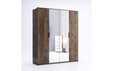 Шкаф распашной в спальню с зеркалом Квадро 4Д Миромарк