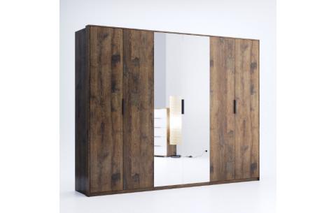 Шкаф распашной в спальню с зеркалом Квадро 6Д Миромарк