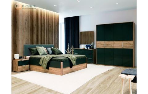 Спальня Рамона (М) Дуб крафт + Мат лава (кровати, тумбочки 2Ш - 2 шт, Зеркало, Комод 3Ш, Шкаф 4Д)