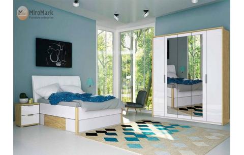 Спальня Флоренция (М) Глянец белый + Дуб Сан-Марино (кровати, тумбочки 2Ш - 2 шт, Шкаф 5Д)
