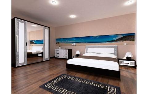 Спальня Виола Глянец белый + Мат черный (кровать, тумбочки 1Ш - 2 шт, Комод 3Ш, Шкаф 4Д)