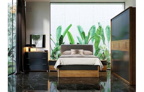 Спальня Рамона (М) Дуб крафт + Мат лава (кровати, тумбочки 2Ш - 2 шт, Зеркало, Комод 3Ш, Шкаф 6Д)