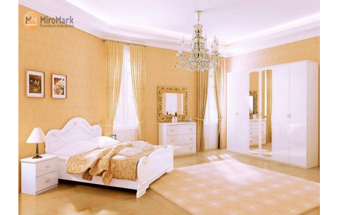 Спальня Футура Глянец белый (кровать, тумбочки 2Ш - 2 шт, Зеркало, Комод 3Ш, Шкаф 6Д)