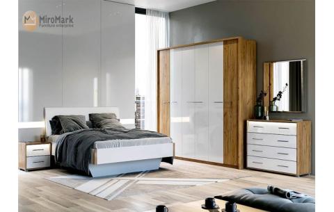 Спальня Ники Дуб крафт + Глянец белый (кровати, тумбочки 2Ш - 2 шт, Зеркало, Комод 4Ш, Шкаф 6Д)