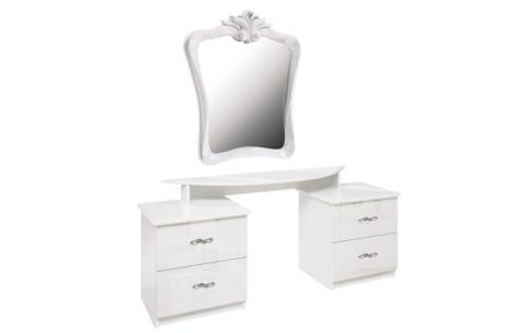 Столик туалетный с зеркалом Миромарк «Прованс 4ш» Белый Глянец