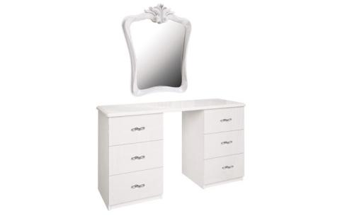 Столик туалетный с зеркалом Миромарк «Прованс 6ш» Белый Глянец