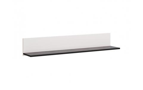 Полочка настенная Миромарк «Виола» 20x120x21,6 Глянец белый + Мат черный