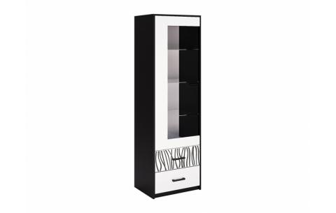 Сервант  Терра 1д Миромарк • Стекло + ДСП • 192,1x59,4x45 см • Глянец белый + Мат черный