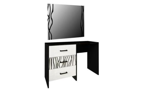 Стол туалетный с зеркалом 3ш «Терра» Миромарк  Глянец белый + Мат черный