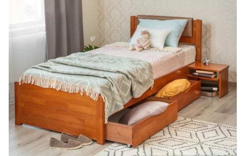 Деревянная кровать Лика Люкс с мягкой спинкой и ящиками Олимп