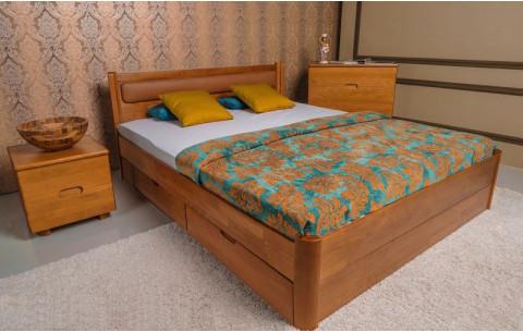 Деревянная кровать Марго Мягкая с ящиками Олимп