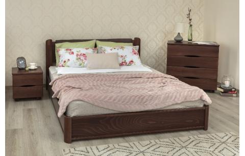 Деревянная кровать София Премиум с мягкой спинкой и механизмом Олимп