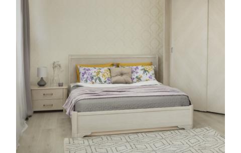 Деревянная кровать Милена с интарсией и механизмом Олимп