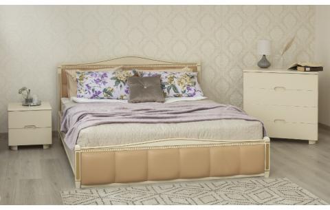 Деревянная кровать Прованс с патиной и фрезеровкой и мягкой спинкой квадраты и механизмом Олимп